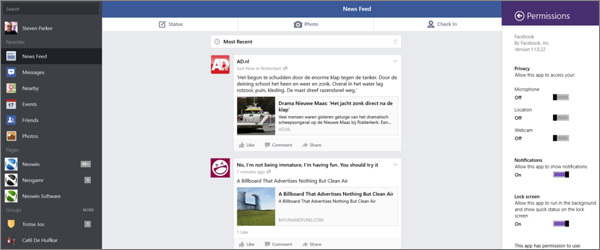 Official Facebook app for Windows 8