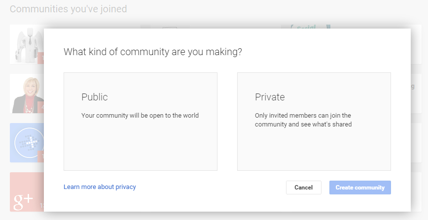 Start building up a Google Plus Community