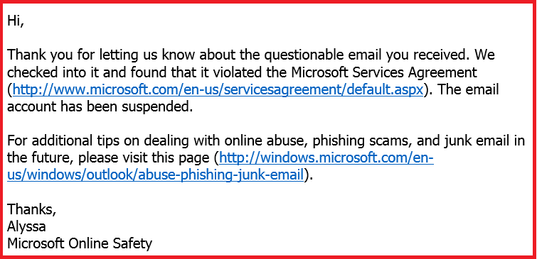 Microsoft to my spam email complaint
